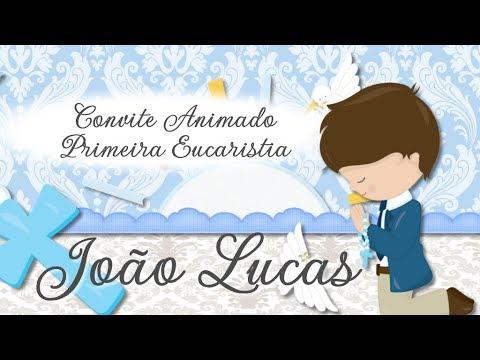 Convite Animado Virtual Primeira Eucaristia Menino