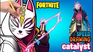 HOW TO DRAW SKIN CATALA FORTNITE ? how to draw catalyst fanart draw