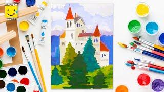 Как нарисовать замок - урок рисования для детей 6-9 лет. Дети рисуют замок поэтапно(Мы ВКонтакте - http://vk.com/art_more_studio., 2015-09-16T14:50:05.000Z)