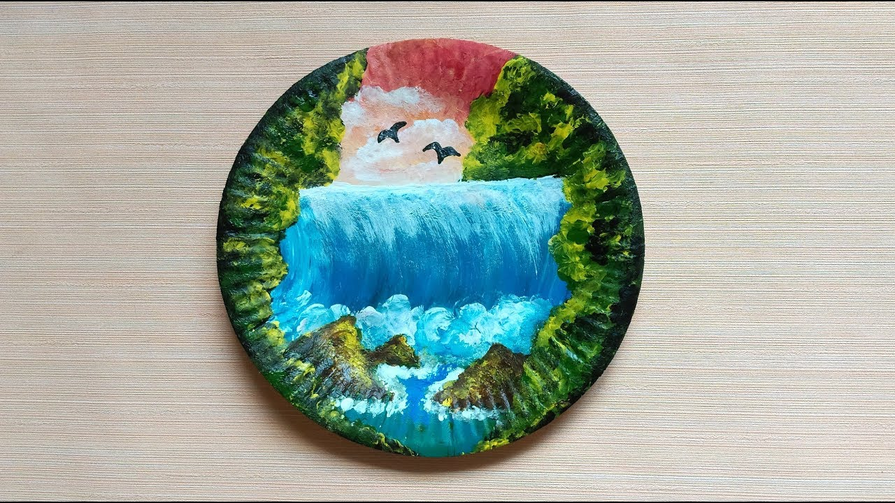 Finger Painting On Paper Plate Speed Painting Youtube