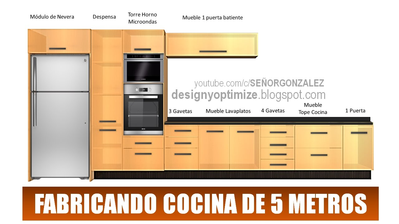 Fabricando cocina de 5 metros planos youtube for Planos de cocinas 4x4