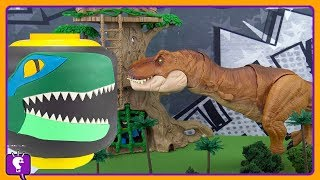 Jurassic World  Giant BLUE RAPTOR Vs TREX Build! Batman Jungle Search by HobbyKidsTv
