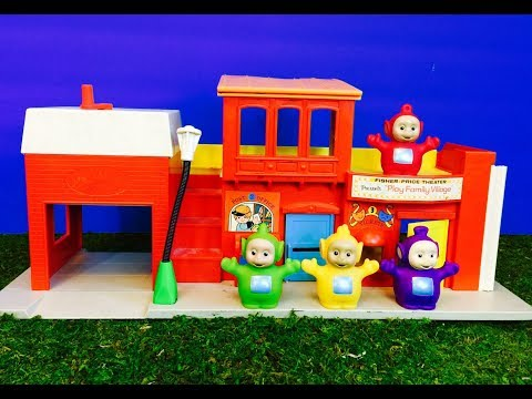 Vintage FISHER PRICE Mall and TELETUBBIES go to the MOVIE Theater!