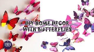 DIY ROOM DECOR ! Membuat hiasan dinding kupu - kupu dari kertas origami