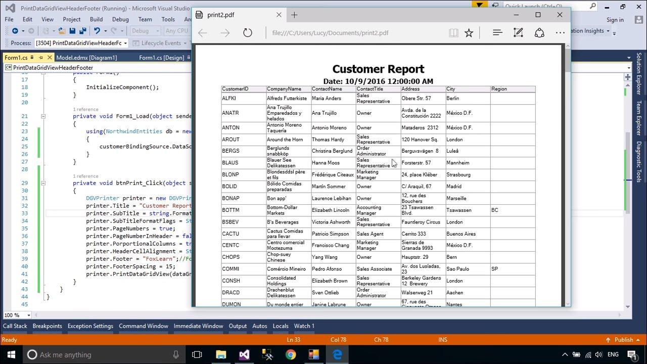 Datagridview in c# tutorial pdf free