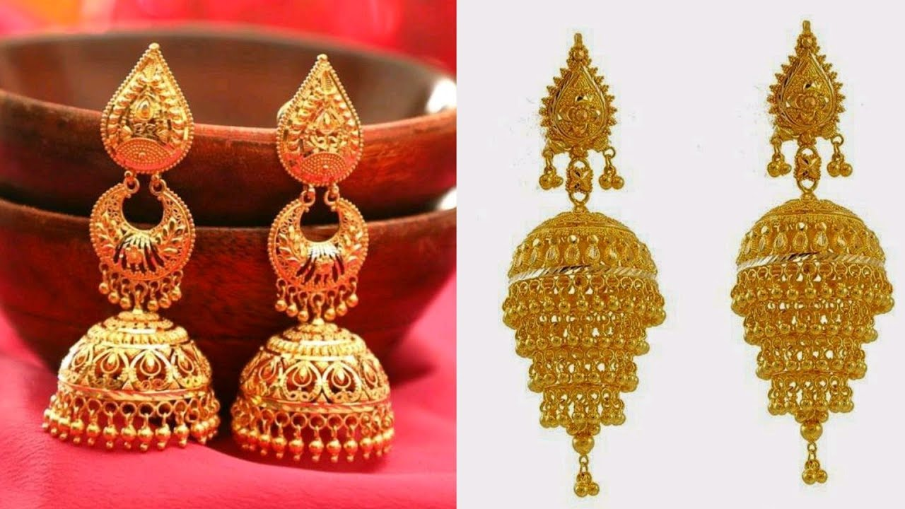 top 35 Gold Jhumka Designs    Earrings For Girls   Gold ...