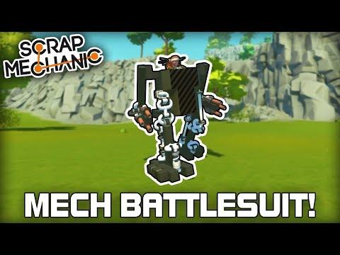 Walking Spud Gun Mech Battlesuit! (Scrap Mechanic #280)