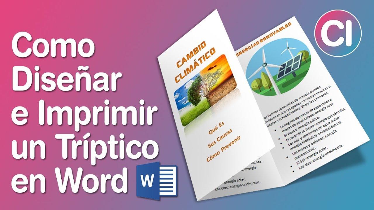 como dise u00f1ar e imprimir un tr u00edptico b u00e1sico en word 2010 - tr u00edptico  brochure  folleto