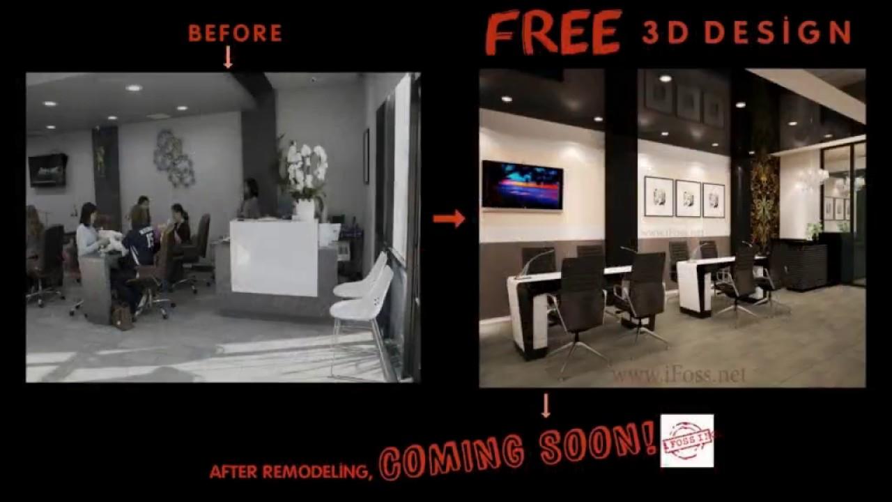 Nails salon interior design ideas - 3D DESIGN, IFOSS TEAM - YouTube