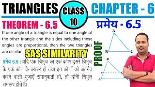 CLASS 10 MATHS CHAPTER - 6 | TRIANGLES | THEOREM 6.5 | SAS Similarity | भुजा-कोण-भुजा समरूपता |