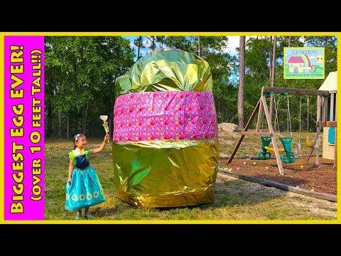 BIGGEST SURPRISE EGG EVER Frozen Anna Princess PlayDoh Golden Egg Surprises PawPatrol Elsa Ride On