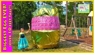 BIGGEST SURPRISE EGG EVER Frozen Anna Princess PlayDoh Golden Egg Surprises PawPatrol Frozen Ride-On
