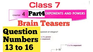 D.A.V. Math   Class 7   Ch-4   Exponents and Powers   Brain Teasers   Part 4   By Art Of Mathematica