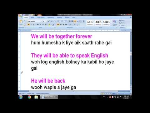 """Lesson three How To use state verb """"will be"""" in future tense In Urdu! Hindi Language"""
