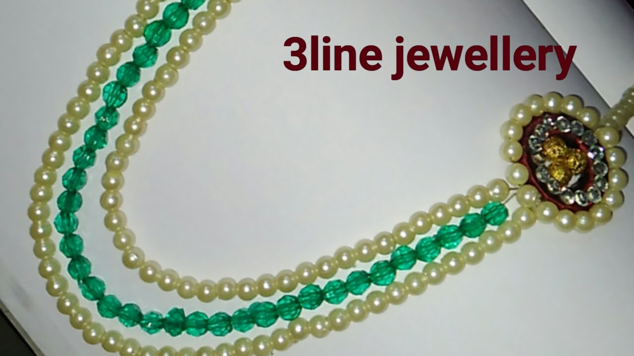 How to make silk thread jewellery/3 line jewellery - YouTube
