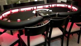Custom Lighted Kidney Shaped Poker Table
