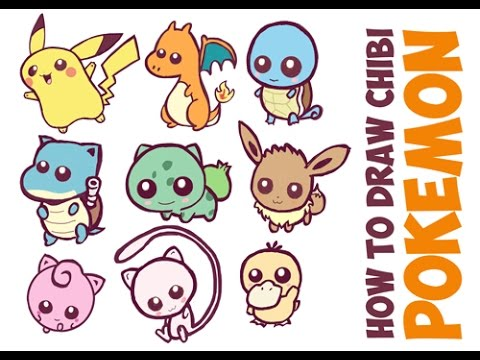 How to draw cute pokemon characters easy cute chibi kawaii baby drawing tutorial