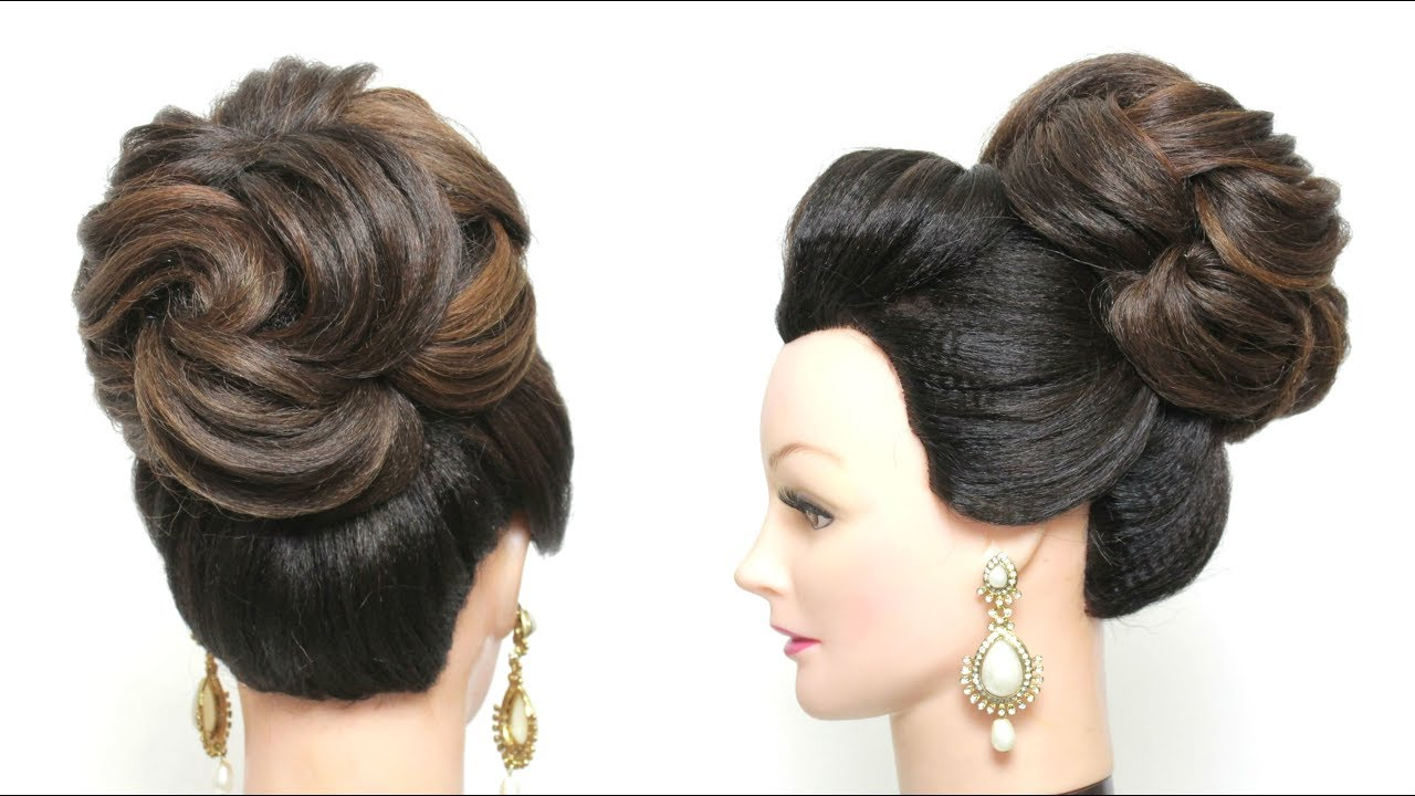 wedding high bun hairstyle. new bridal updo for long hair tutorial