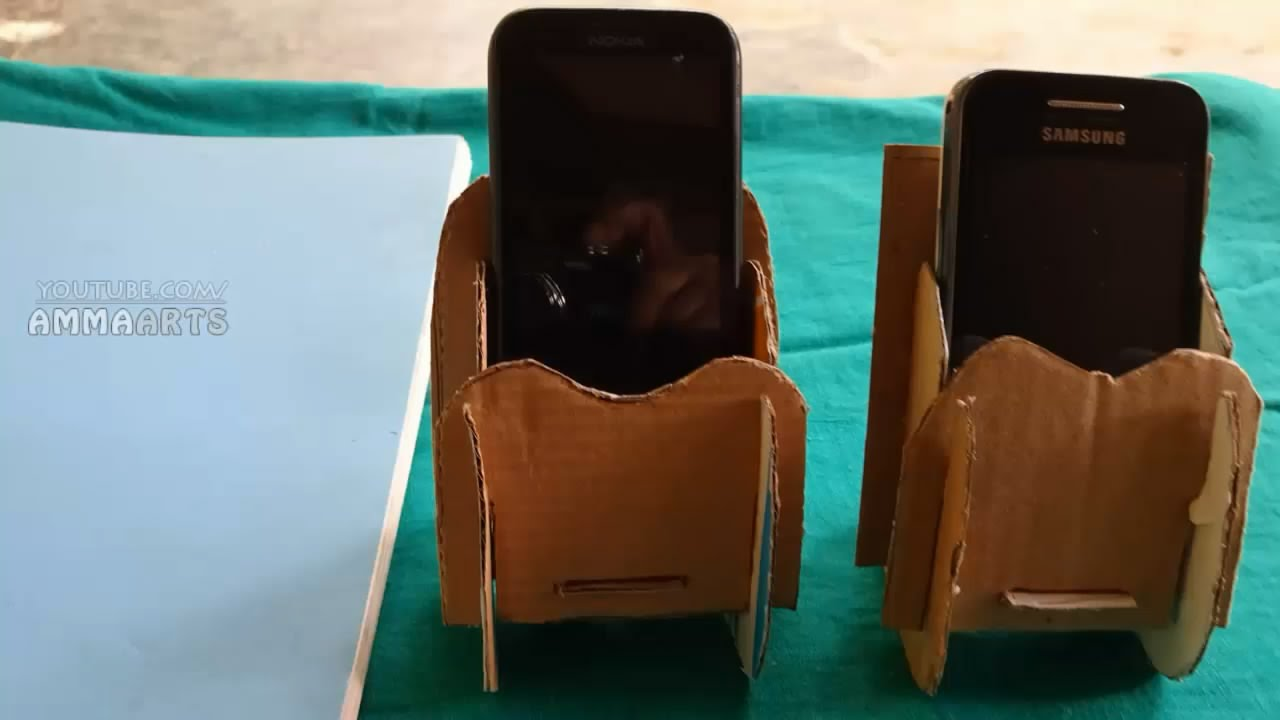 Cardboard Cellphone Stand In Handmade Paper Crafts Amma Arts Youtube