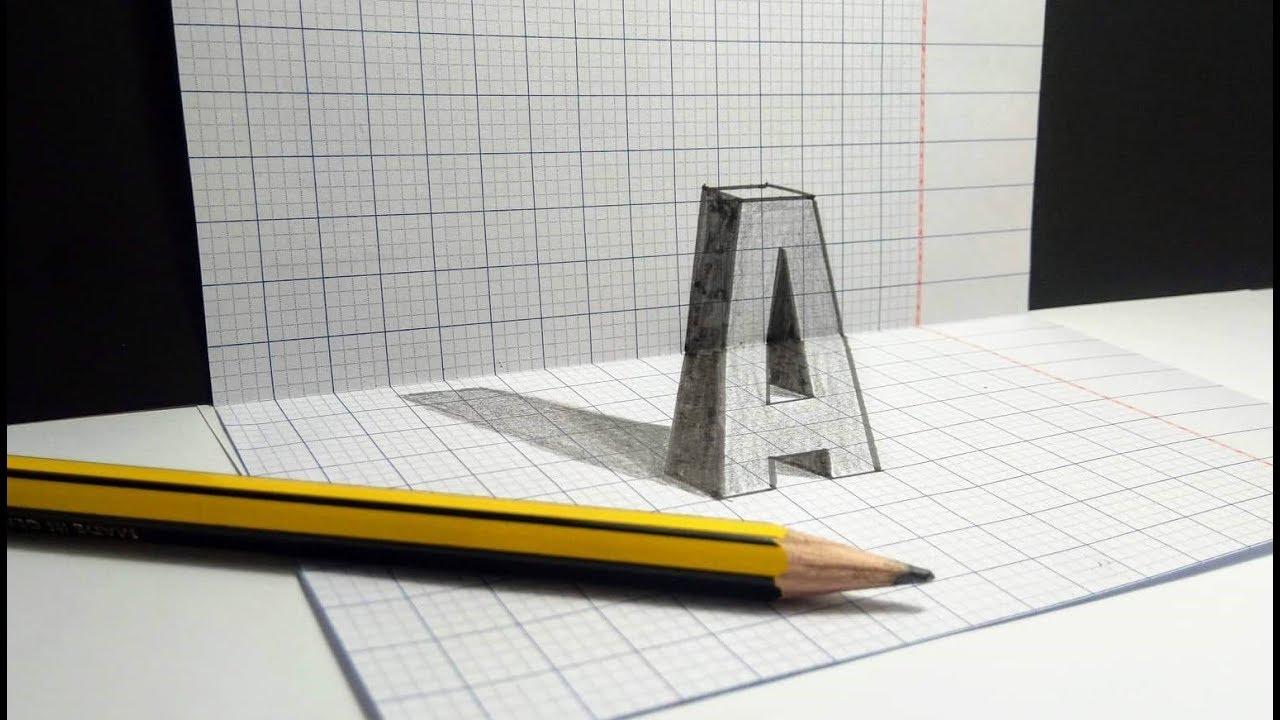 """3D Trick Art – Cách vẽ chữ """"A"""" 3D đơn giản"""