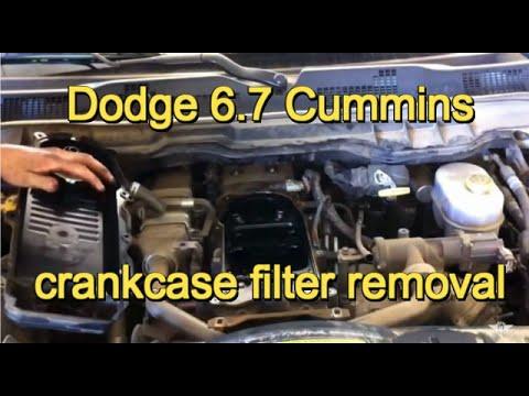 Dodge Ram 67 liter Diesel engine crankcase filter - YouTube