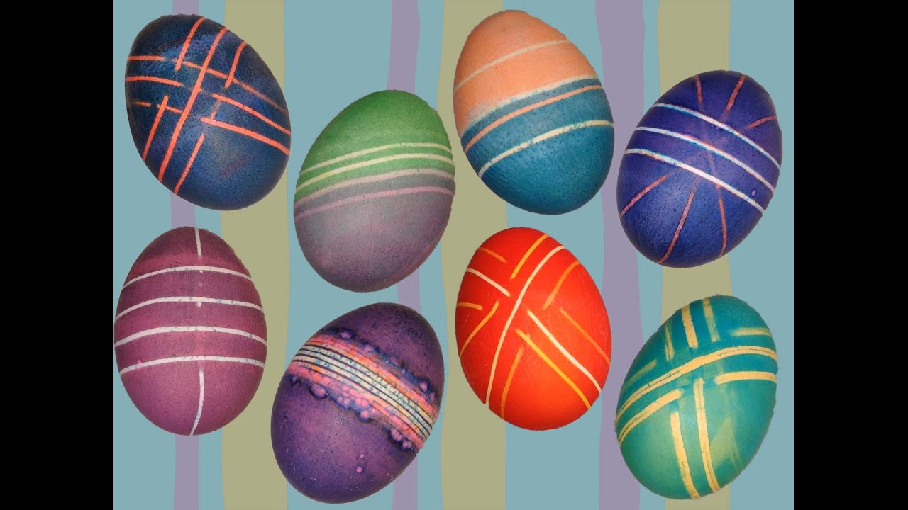 Easter Egg Dye Dyeing Decorating with Rubber Bands  Rainbow Loom