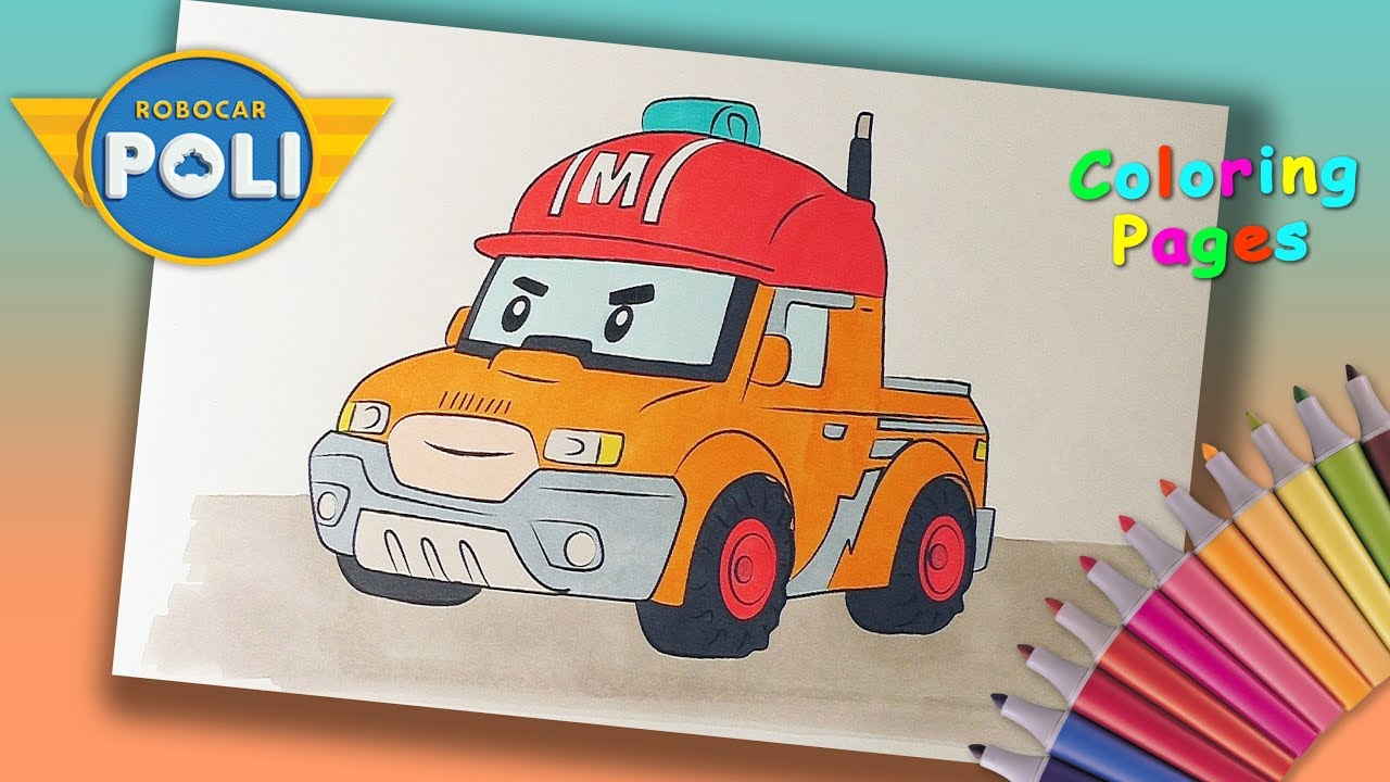 Robocarpoli coloring pages coloring mark from robocar poli poli robocar and his friends