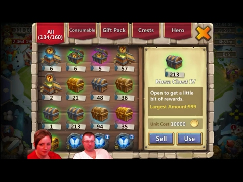 Opening Over 325 Mesa 4 Chest On Cari's Main Account And Tons Of Warehouse Items - Castle Clash