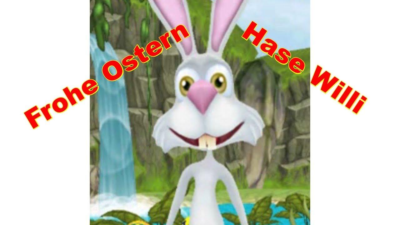 Frohe Ostern mit Hase Willi Lustig, fröhlich, lachen zum Osterfest ...