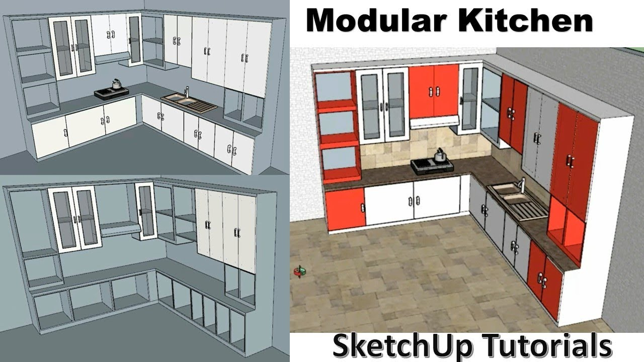 How To Make Modular Kitchen SketchUp | Interior design ...