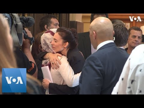 New Zealand PM  Ardern greets Muslim community leaders at parliament