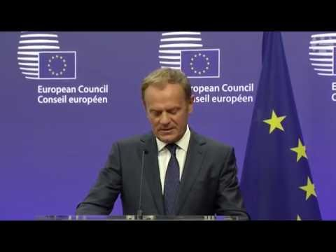 Donald Tusk reacts to the UK