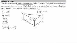 Dany jest graniastosłup prawidłowy trójkątny zobacz rysunek  Pole powierzchni całkowitej tego grania