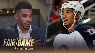 """San jose sharks left wing evander kane explains to kristine leahy the details of """"tracksuit"""" incident that culminated in him being traded away from w..."""
