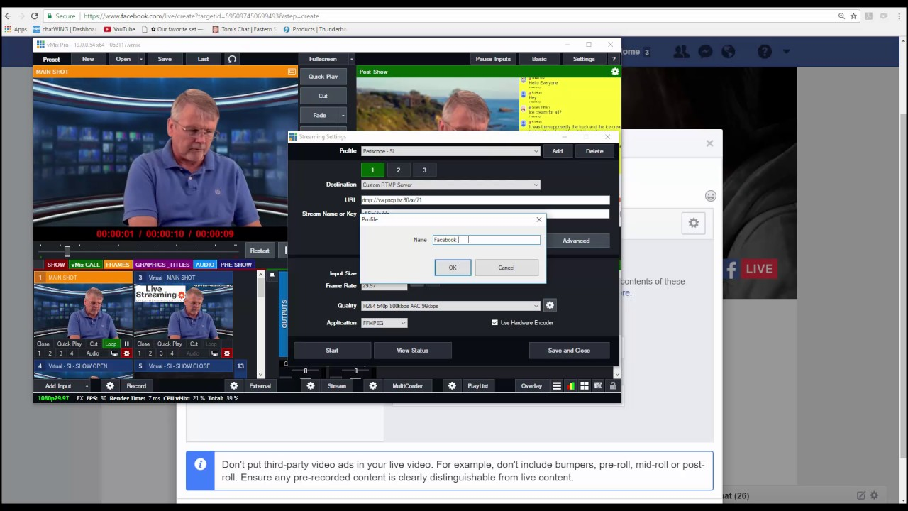 Streaming to Facebook Live using the Custom RTMP server in vMix
