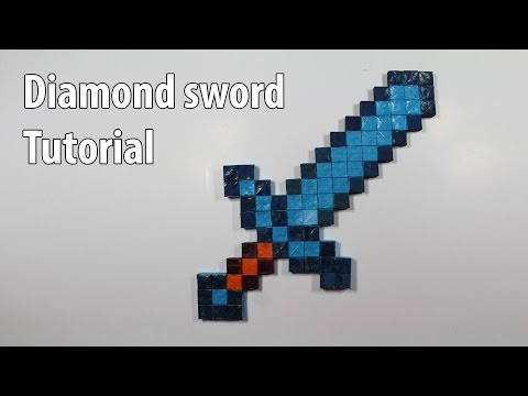 Easy Paper Minecraft Diamond Sword Tutorial - DIY (Henry Phạm)