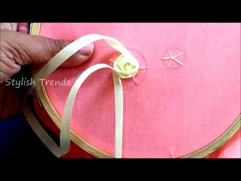 SATIN RIBBON ROSE DESIGNING ON KURTI | Lehenga | Sarees