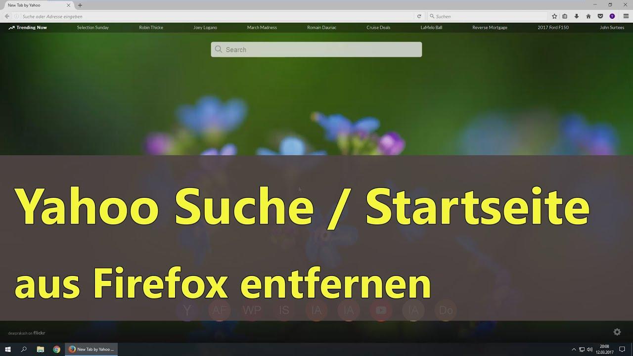 Yahoo Suche und Startseite aus Firefox entfernen - YouTube