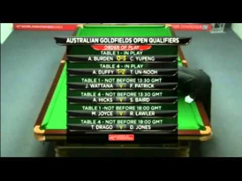 Snooker Australian Goldfields Open 2012 qualifiers  R2 - Burden vs Cao曹宇鵬  - Fr.3/4