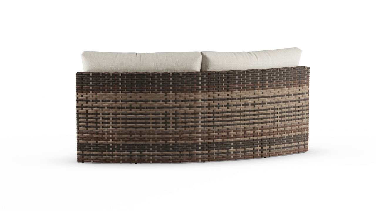 weather wicker cushioned curved sofa