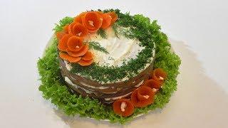 """Сытная закуска на новогодний стол """"Печеночный торт"""""""