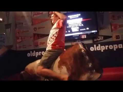 Riding Mechanical Bull at Old Pro Sports Bar Palo Alto