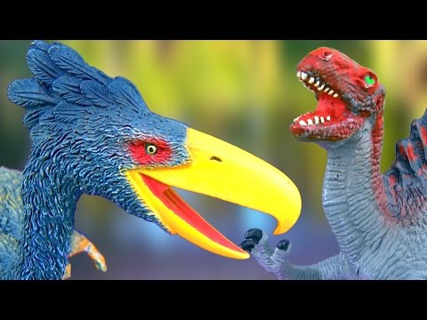 Dinosaur Fight Dinosaurs Battle Spinosaurus vs Kelenken T rex 공룡 싸움 รบ ไดโนเสาร SuperFunReviews