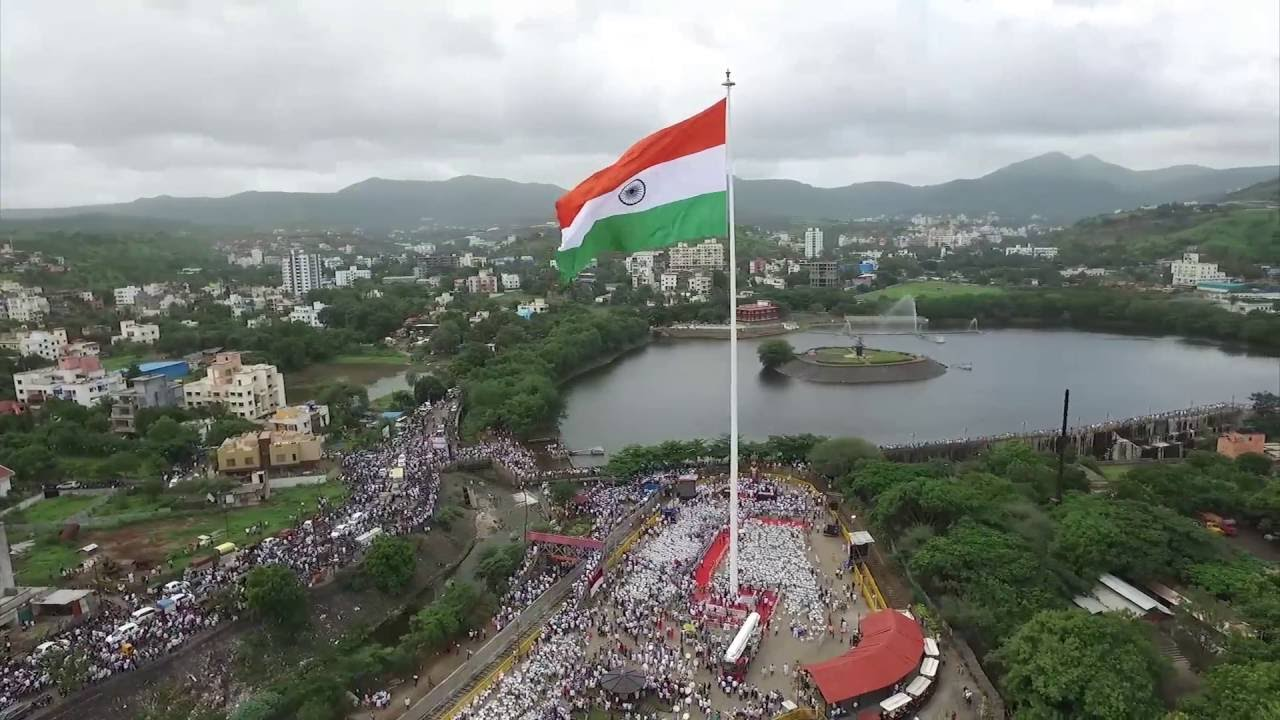 Indian Flag With Different Views: Aerial View Of Maharashtra's Tallest Indian Flag By