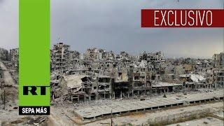 RT visita las áreas bombardeadas por la Fuerza Aérea rusa