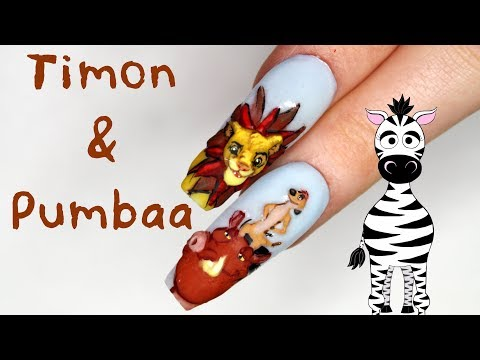 3D Timon and Pumbaa Acrylic Nail Art Tutorial | Lion King thumbnail