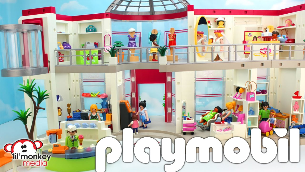 Playmobil Furnished Shopping Mall With Extension Beauty Salon And Toy Store Add On Sets Youtube
