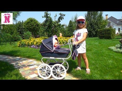 КОЛЯСКА ДЛЯ КУКОЛ Baby Born Эмили и Настя на прогулке Кормим Беби борн Играем ШАРИКОВЫМ ПЛАСТИЛИНОМ