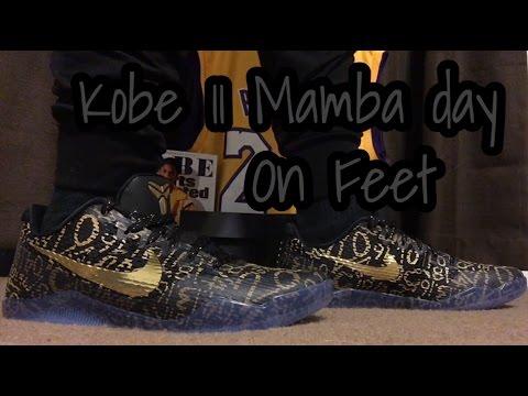 sale retailer 5901b a9e1a Kobe 11 Mamba day Nike id on feet Close up