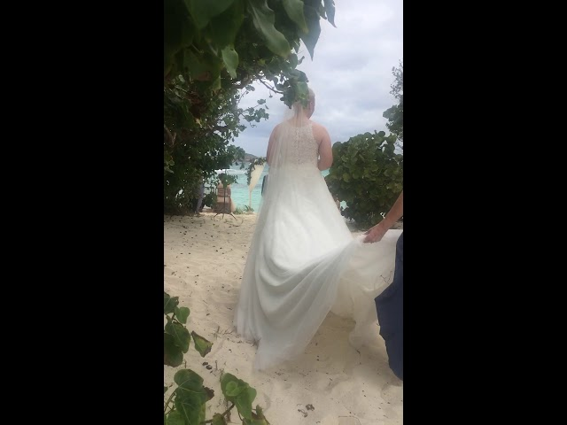 Here comes the bride at St. Thomas USVI Lindquist beach wedding